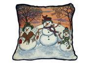 "Winter Snowman Theme Decorative Christmas Throw Pillow 17"" x 17"""