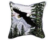 "Set of 2 ""Majestic Flight"" Bald Eagle Decorative Tapestry Throw Pillows 17"""