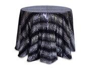 """96"""" Round Black and Silver Sequined Christmas Tablecloth"""