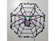 "15"" Lighted LED Spider Web Halloween Window Silhouette Decoration"