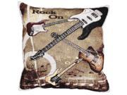 """Set of 2 """"Rock 'n Roll"""" Rock On Guitar Decorative Tapestry Throw Pillows 17"""""""