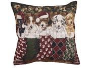 """Set of 2 Christmas Puppy Dog Stockings Decorative Tapestry Throw Pillows 17"""""""