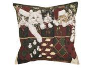 """Set of 2 Christmas Kitty Cat Stockings Decorative Tapestry Throw Pillows 17"""""""