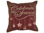 "Set of 2 ""Celebrate the Season"" Christmas Decorative Tapestry Throw Pillows 17"""