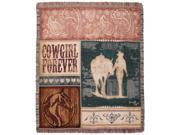 """Country Western Cowgirl Forever Decorative Woven Afghan Throw Blanket 50"""" x 60"""""""
