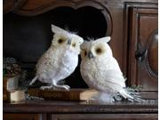 """Set of 2 Snowy Winter White Owl Christmas Table Top Decorations 7.5"""""""