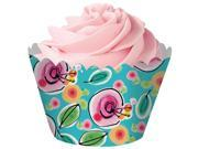 Club Pack of 144 Multi Colored Blooms DieCut Cupcake Wrappers