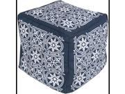 """18"""" Cobalt Blue and Cream Encompassed Flowers Square Outdoor Patio Pouf Ottoman"""