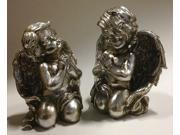 "Set of 2 Pewter Finish Inspirational Praying Cherub Angel Religious Figures 8"""