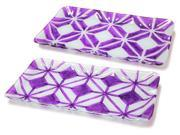 """Set of 2 Geometric Purple and Clear Designed Plates- Glass 15"""""""