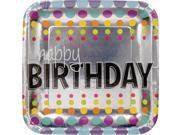 "Club Pack of 96 Metallic Multi-Colored Birthday Pop """"Happy Birthday"""" Square Foil Party Plates 7"""""" 9SIA09A34D3950"