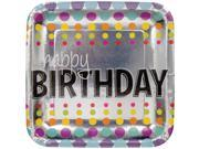 """Club Pack of 96 Birthday Pop """"""""Happy Birthday"""""""" Disposable Square Foil Paper Party Dinner Plate 9"""""""""""" 9SIA09A34D5242"""