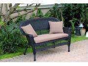 """51"""" Black Resin Wicker Outdoor Patio Garden Love Seat - Brown Cushion & Pillows"""