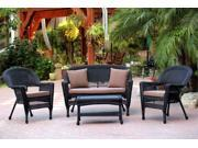 4-Piece Black Wicker Patio Chair, Loveseat & Table Furniture Set - Brown Cushions