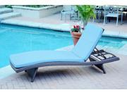 4 Adjustable Espresso Resin Wicker Patio Chaise Lounge Chairs - Turquoise Cushions