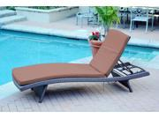 4 Adjustable Espresso Resin Wicker Patio Chaise Lounge Chairs - Brown Cushions