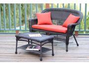 2-Piece Espresso Resin Wicker Patio Loveseat & Coffee Table Set - Red-Orange Cushion