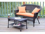 2-Piece Espresso Resin Wicker Patio Loveseat and Coffee Table Set - Orange Cushion