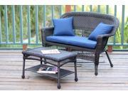2-Piece Espresso Resin Wicker Patio Loveseat and Coffee Table Set - Blue Cushion
