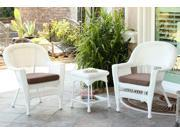 3-Piece White Resin Wicker Patio Chairs and End Table Furniture Set - Brown Cushions