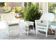 3-Piece White Resin Wicker Patio Chairs and End Table Furniture Set - Tan Cushions