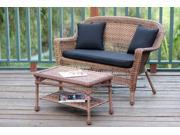 2-Piece Oswald Honey Wicker Patio Loveseat and Coffee Table Set - Black Cushion
