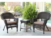 3-Piece Espresso Wicker Patio Chairs and End Table Furniture Set - Brown Cushions