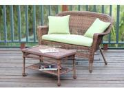 2-Piece Oswald Honey Resin Wicker Patio Loveseat & Coffee Table Set - Green Cushion