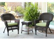 3-Piece Espresso Wicker Patio Chairs and End Table Furniture Set - Green Cushions