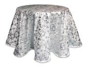 """Pack of 2 Cream White and Silver Round Decorative Metallic Tablecloths 96"""""""