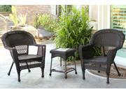 3-Piece Espresso Brown Resin Wicker Patio Chairs and End Table Furniture Set