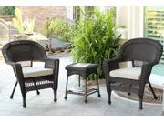 3-Piece Espresso Wicker Patio Chairs and End Table Furniture Set - Tan Cushions