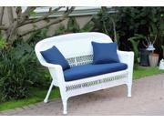 "51"" Jasmine White Resin Wicker Patio Loveseat - Navy Blue Cushion and Pillows"