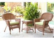 3-Piece Honey Brown Resin Wicker Patio Chairs and End Table Furniture Set - Green Cushions