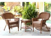 3-Piece Honey Wicker Patio Chairs and End Table Furniture Set - Brown Cushions