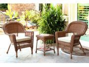 3-Piece Honey Brown Resin Wicker Patio Chairs and End Table Furniture Set - Tan Cushions