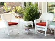 3-Piece White Resin Wicker Patio Chairs and End Table Furniture Set - Red Cushions