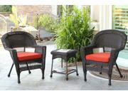 3-Piece Espresso Wicker Patio Chairs and End Table Furniture Set - Red Cushions