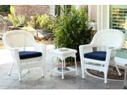 3-Piece White Resin Wicker Patio Chairs and End Table Furniture Set - Blue Cushions