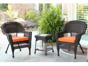 3-Piece Espresso Wicker Patio Chairs and End Table Furniture Set - Orange Cushions