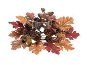"""19"""" Elegant Autumn Red, Orange and Brown Maple Leaf Thanksgiving Candle Ring w/ Glass Pillar Holder"""