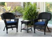 3-Piece Black Resin Wicker Patio Chairs and End Table Furniture Set - Blue Cushions