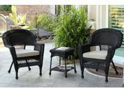 3-Piece Black Resin Wicker Patio Chairs and End Table Furniture Set - Tan Cushions