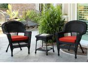 3-Piece Black Resin Wicker Patio Chairs and End Table Furniture Set - Red Cushions