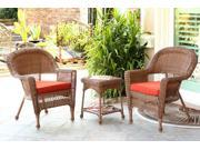 3-Piece Honey Wicker Patio Chairs and End Table Furniture Set - Red Orange Cushions