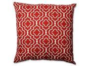 "23"" Brick Red and White Lucky One Square Decorative Floor Pillow"