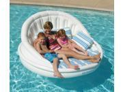 "68"" White, Blue and Green Striped Inflatable Floating Swimming Pool Aqua Sofa Lounge Raft"