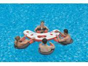 """67"""" Inflatable Red, White, and Black Floating Swimming Pool Bar Set"""