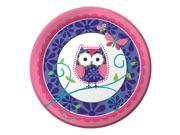 "Club Pack of 96 Owl Pal Birthday Girl Disposable Paper Premium Strength Party Dinner Plates 9"""""" 9SIA09A4342220"