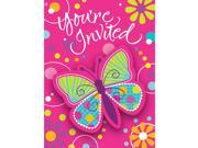 "Club Pack of 48 Pink Butterfly Sparkle Fun Party Paper Invitations 8"""""" 9SIA09A34D3388"